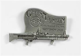 "Green Mountain Shot Show 2010 Commemorative Pin, pewter, 1"" x 1.5"", while supply lasts"