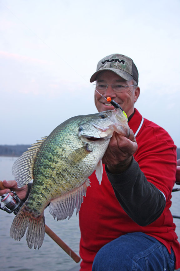 Barry Morrow holds nice Crappie caught on a Jig